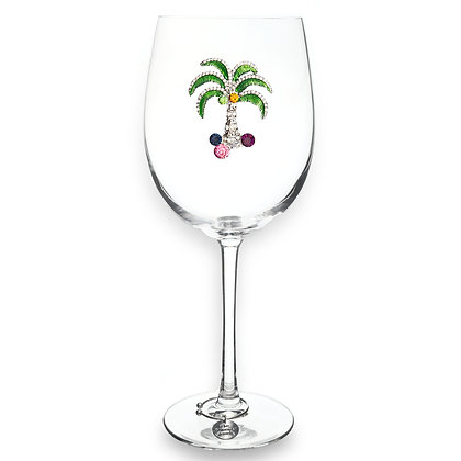 Multicolored Palm Tree Jeweled Stemmed Glass
