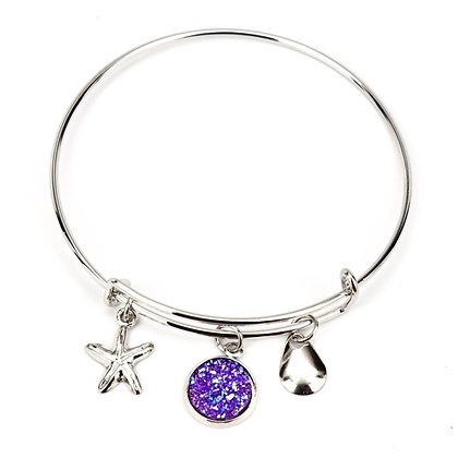 Faux Lavender Druzy w/ Starfish Charm and Silver Lure Bracelet