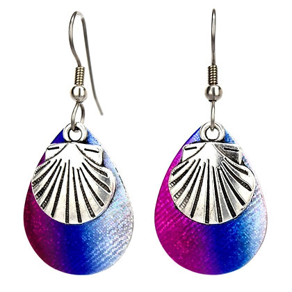 Medium Rainbow Sea Shell Earrings
