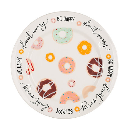 Donut Worry Be Happy Plate