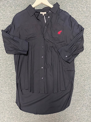 Alabama Black Front Pleat Button Up