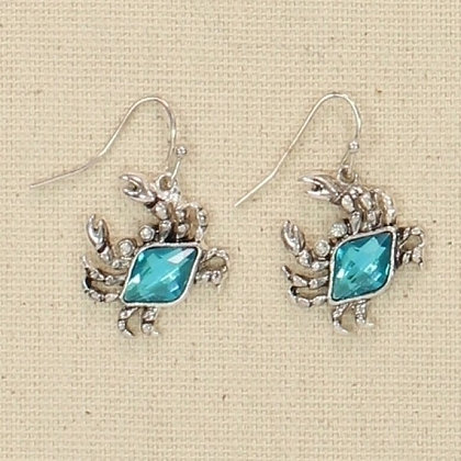 Blue Crystal Crab Earrings