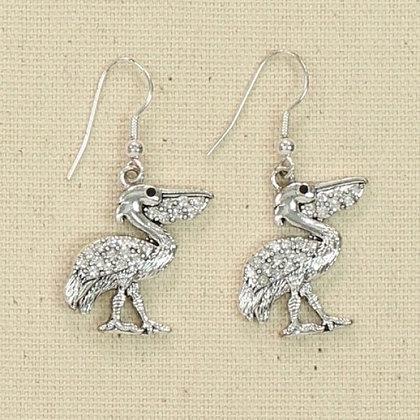 Crystal Pelican Earrings