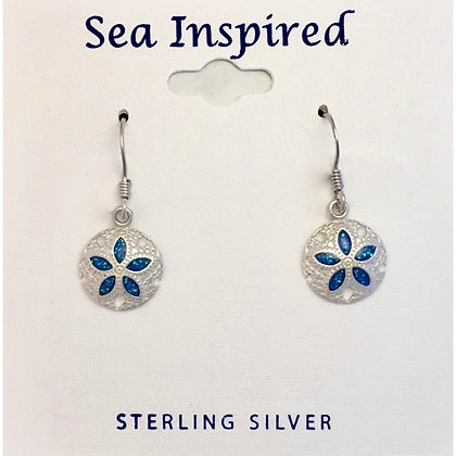 Sand Dollar Earrings with Blue Enamel