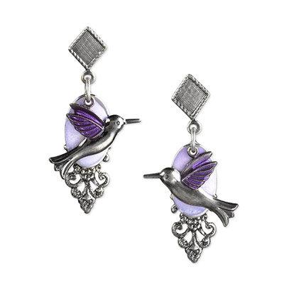 Silver Hummingbird with Flower Purple