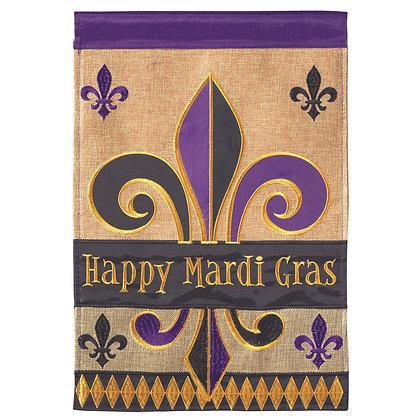 Happy Mardi Gras Burlap Garden Flag