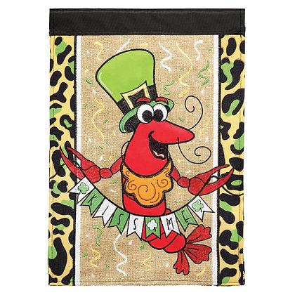 Kiss Me Crawfish Burlap Double Appliqué Garden Flag