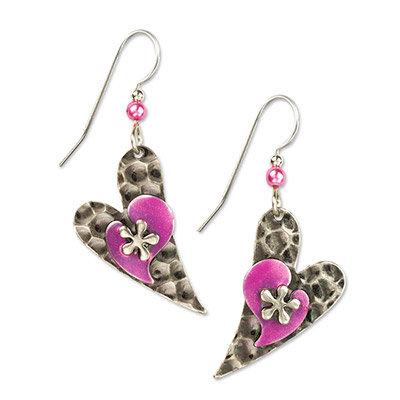 Flower on Modern Heart Earrings
