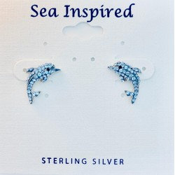 Dolphin Post Earring Swarovski Crystal Elements
