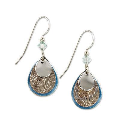Silver and Blue Teardrop Earrings
