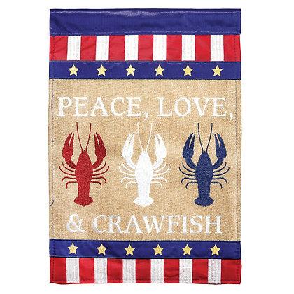 Peace Love & Crawfish Double Appliqué Garden Flag