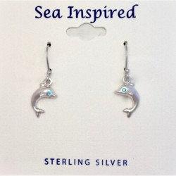 Dolphin Dangle Earrings with Blue CZ Eye - Sterling Silver
