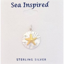 Two-Toned Sand Dollar Pendant with Starfish Inlay - Sterling Silver