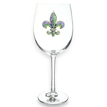 Purple & Green Jeweled Fleur de Lis