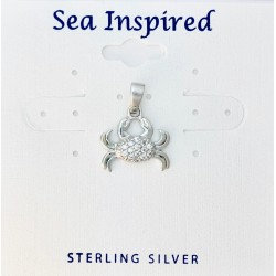 Crab Pendant with White CZ & Bail - Sterling Silver