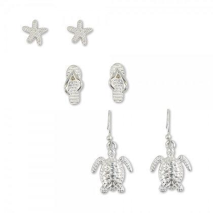 Silver Trio Coastal Earrings