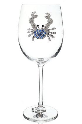 Blue Crab Jeweled Wine Glass