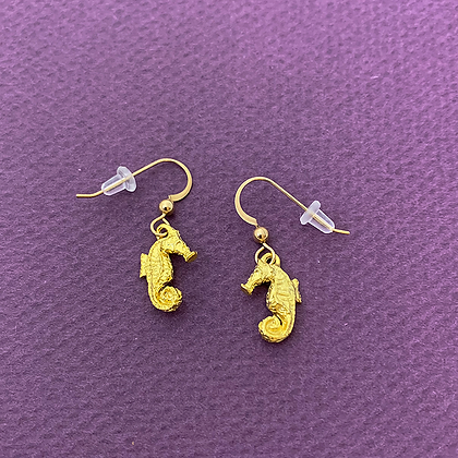 Seahorse Small Gold Earrings copyright by Maurice Milleur