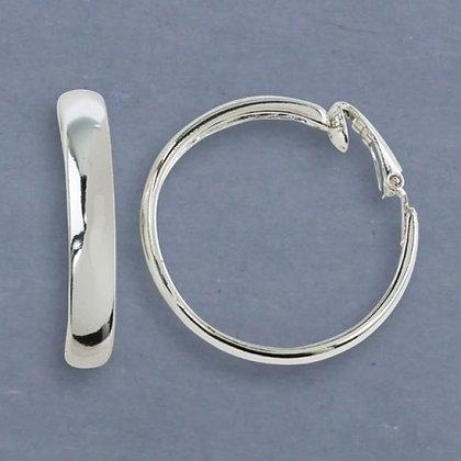 Hammered Silver Hoop Clip Earrings