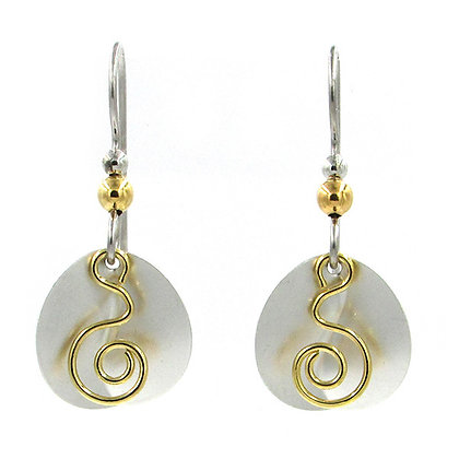 Coil on Crescent Round Drop Earrings