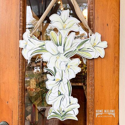 Easter Lily Cross Door Hanger