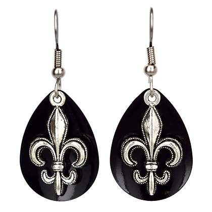 Medium Black Fleur de Lis Earrings