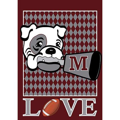 Mississippi State Love Bulldogs Garden Flag