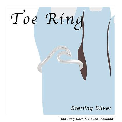 Silver Ocean Wave Toe Ring