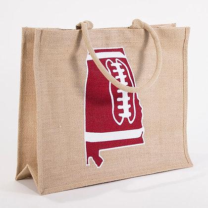 AL Football Jute Tote Bag - natural/red/white 18x15x7