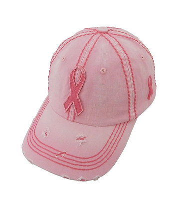 Pink Distressed Ribbom Cap