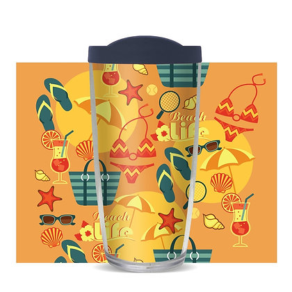 Beach Life Umbrella 16 oz Tumbler