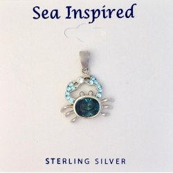 Blue Crab Pendant with Swarovski Crystals