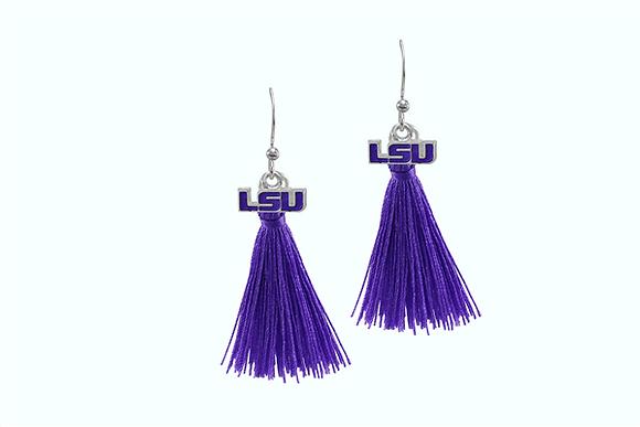 LSU Earrings with Tassel Charm