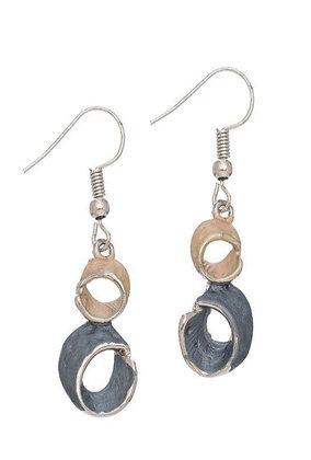 Enamel Earrings Stacked Circles Gold/Hem