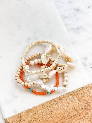Puka Shell Bracelet Stack