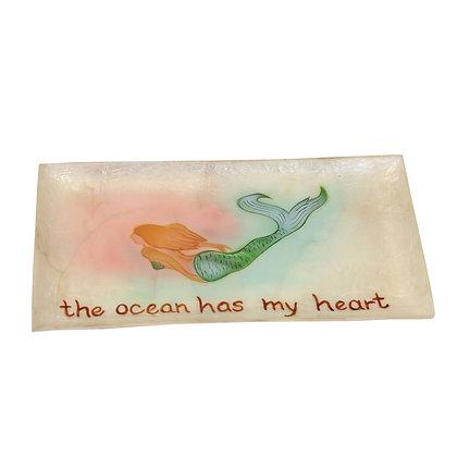 """Mermaid The Ocean Has My Heart Tray-  7.4 """""""