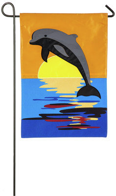 Dolphin Sunset Garden Flag