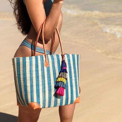 Straw Basket Trinidad Stripes with Tassel
