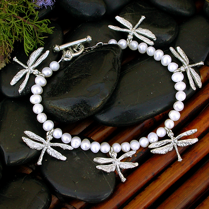 Dragonfly Charm Bracelet with Freshwater Pearls copyright by Maurice Milleur