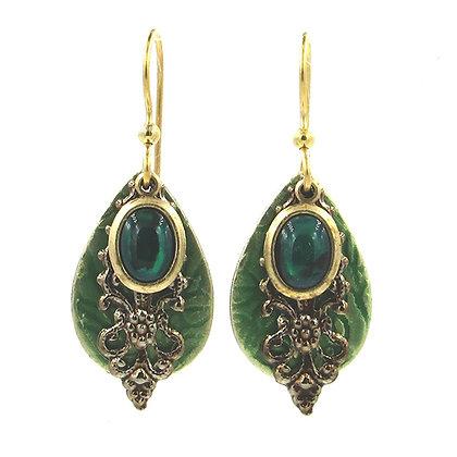 Green Abalone Teardrop Earrings