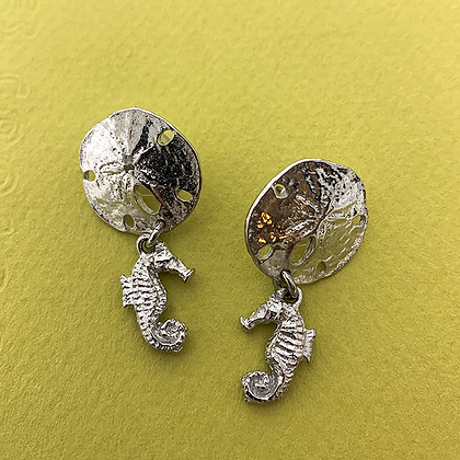 Sand Dollar with Dangling Seahorse Earrings copyright by Maurice Milleur