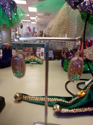 Mardi Gras Oval Rhinestone Earrings
