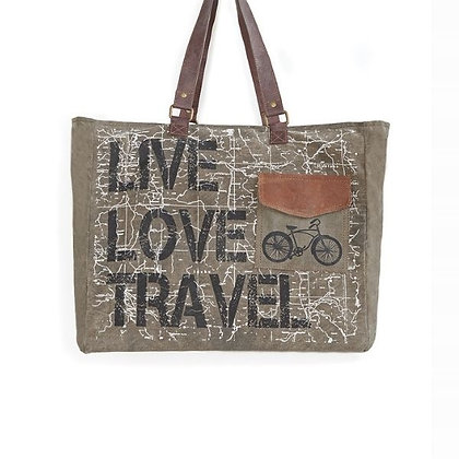 Live Love Travel Up-Cycled Canvas Travel Weekender
