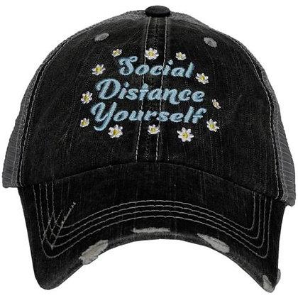 Flower Social Distance Yourself Baseball Adjustable Cap
