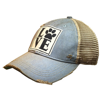 Love Paws Distressed Trucker Cap