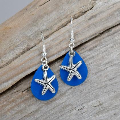 Small Blue Starfish Earrings