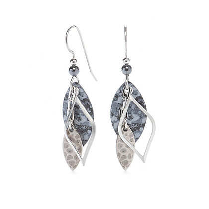Silver and Gray Football Shaped Drop Earrings