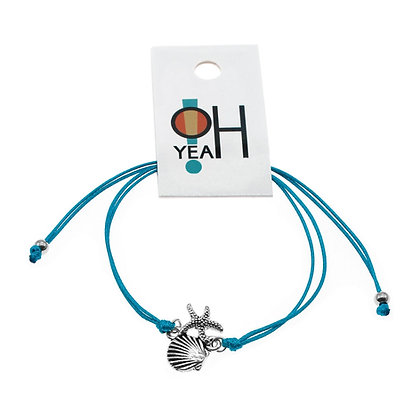 Starfish & Shell Bracelet Ocean Jewelry - Aqua Blue