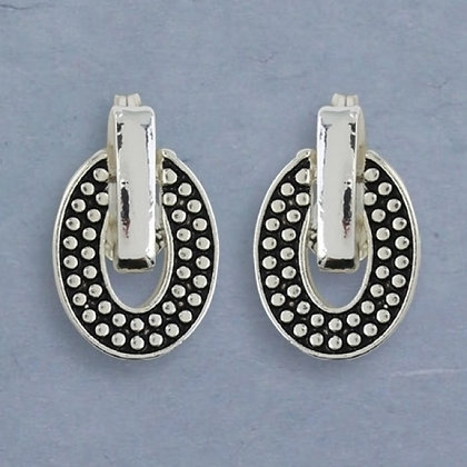 Beaded Pattern Oval Clip Earrings