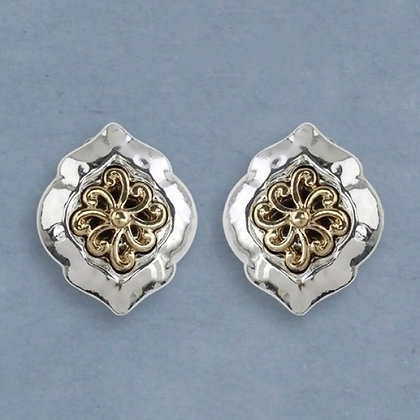 Two-Towed Clip Earrings with Swirl Design